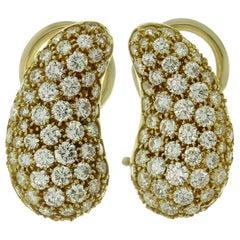 Tiffany & Co. Elsa Peretti Diamond Yellow Gold Clip-On Bean Earrings
