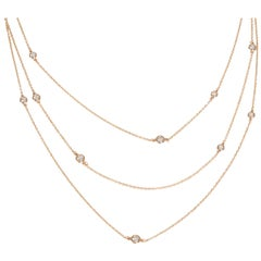 Tiffany & Co. Elsa Peretti Diamonds by the Yard 18k Rose Gold Necklace 1.20ctw