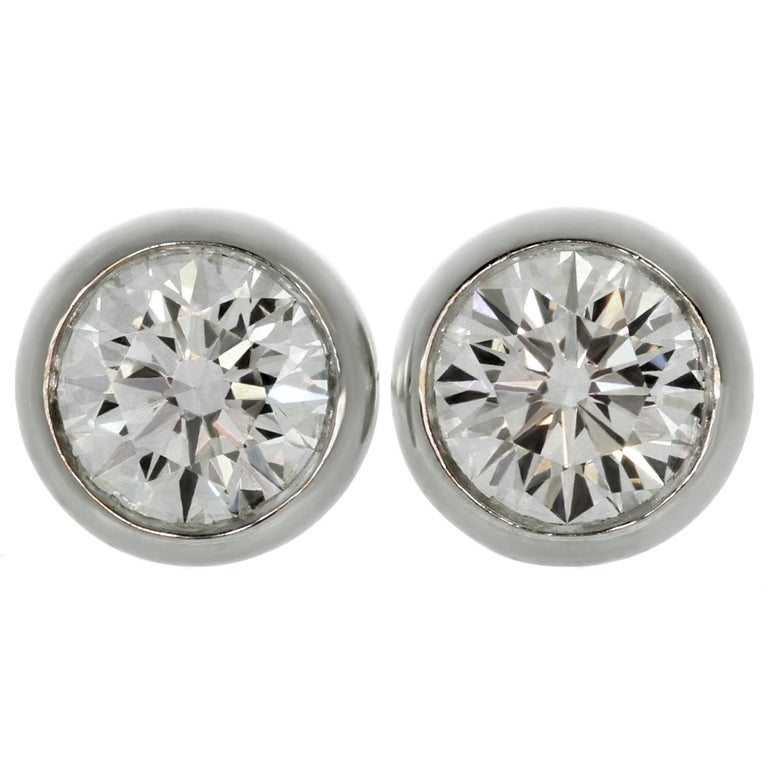 6e748de2b Tiffany & Co. Elsa Peretti Diamonds by the Yard White Gold Stud Earrings  For Sale