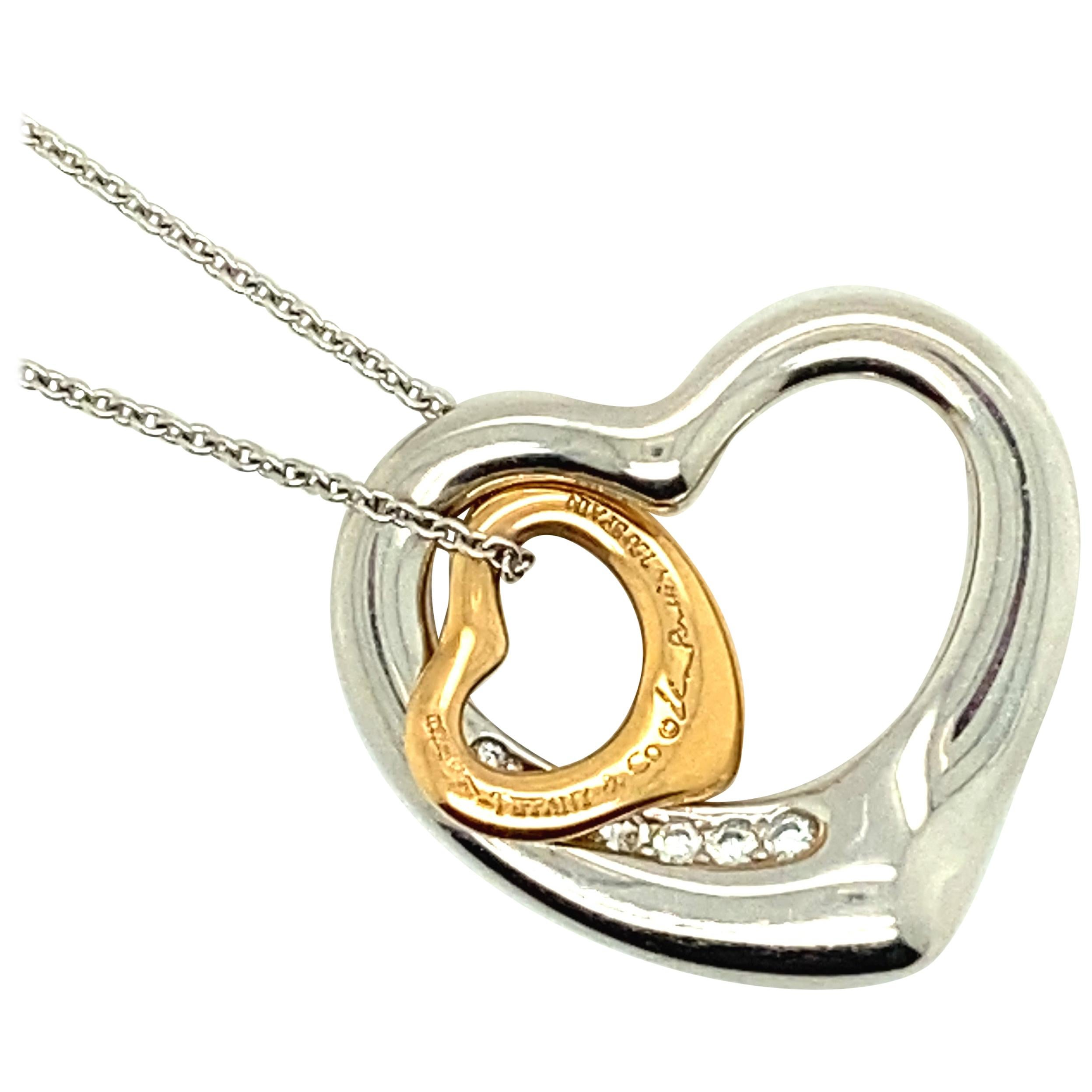 Tiffany & Co. Elsa Peretti Double Open Heart Diamond Set Necklace
