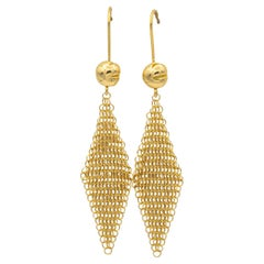 Tiffany & Co. Elsa Peretti Drop Mesh Earrings in 18K Yellow Gold, Circa 1981