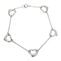 Tiffany & Co. Elsa Peretti Five Open Hearts Sterling 925 Silver Bracelet