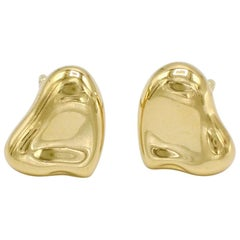 Tiffany & Co. Elsa Peretti Full Heart 18 Karat Gold Stud Earrings