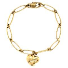 TIFFANY & CO Elsa Peretti Gold Heart Charm Bracelet Estate Fine Jewelry