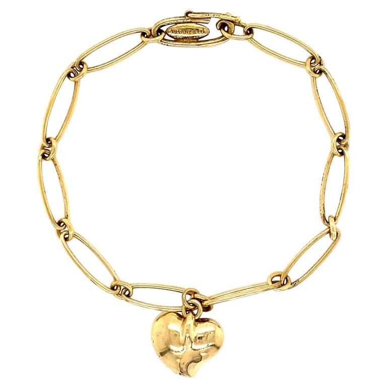 TIFFANY & CO Elsa Peretti Gold Heart Charm Bracelet Estate Fine Jewelry For Sale