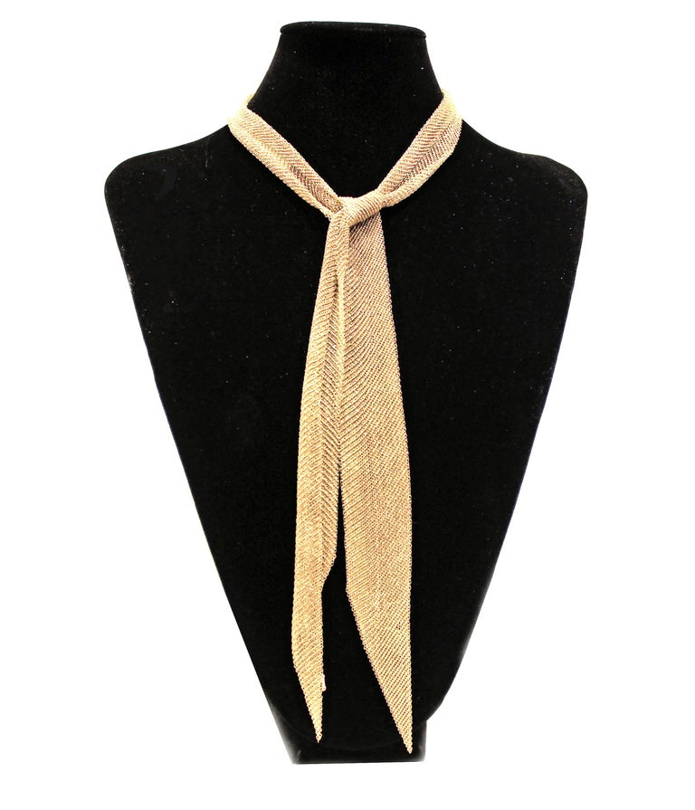 Tiffany & Co. Elsa Peretti Gold Mesh Scarf Necklace In Excellent Condition For Sale In Bethesda, MD