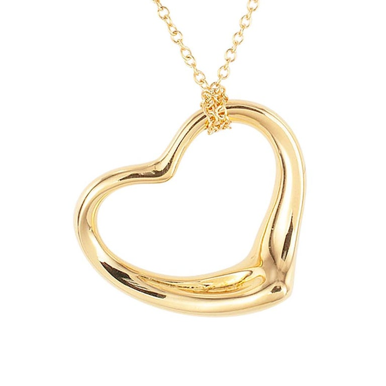 Women's Tiffany & Co. Elsa Peretti Heart Shaped Yellow Gold Pendant For Sale
