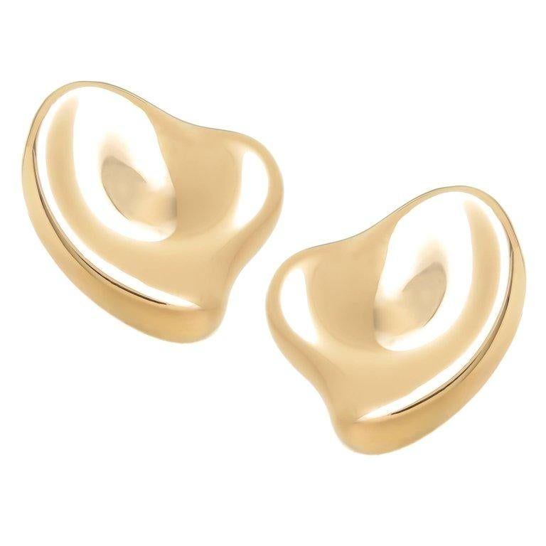 Tiffany & Co. Elsa Peretti Large Gold Heart Earrings For Sale