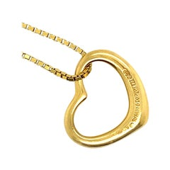 Tiffany & Co. Elsa Peretti Open Heart 18 Karat Yellow Gold Pendant Necklace