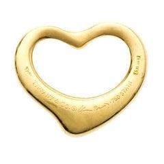 Tiffany & Co. Elsa Peretti Open Heart 18k Yellow Gold Pendant Charm