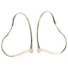 Tiffany & Co. Elsa Peretti Open Heart Hoop Earrings Sterling Silver Large