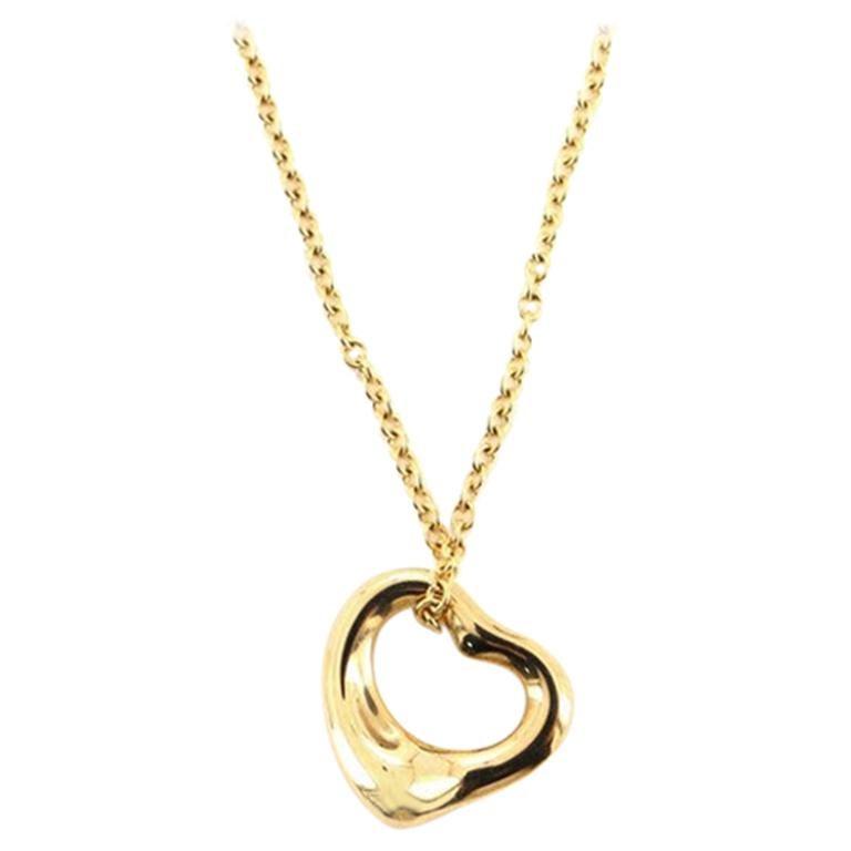 Tiffany & Co. Elsa Peretti Open Heart Pendant Necklace 18 Karat Yellow Gold For Sale