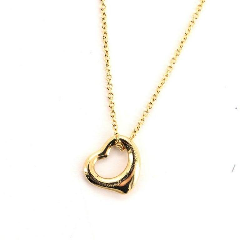 Women's Tiffany & Co. Elsa Peretti Open Heart Pendant Necklace 18 Karat Yellow Gold For Sale