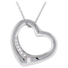 Tiffany & Co. Elsa Peretti Open Heart Platinum Pendant Necklace