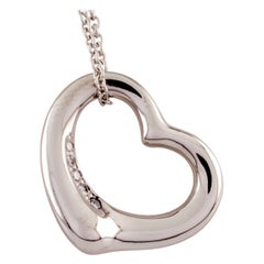 Tiffany & Co. Elsa Peretti Open Heart Platinum Pendant with Diamond and Chain