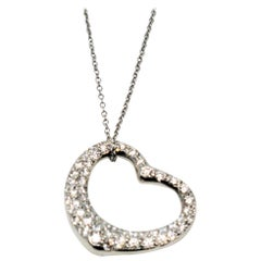 Tiffany & Co. Elsa Peretti Pave Diamond Open Heart Necklace in Platinum