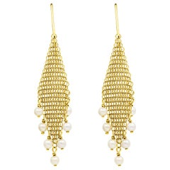 Tiffany & Co. Elsa Peretti Pearl Mesh Fringe Earrings