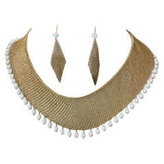 Tiffany & Co. Elsa Peretti Pearl Yellow Gold Mesh Necklace With Earrings