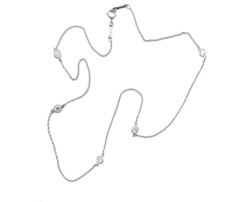Modern Tiffany & Co. Elsa Peretti Platinum 5 Diamond by The Yard .90 Carat Necklace For Sale