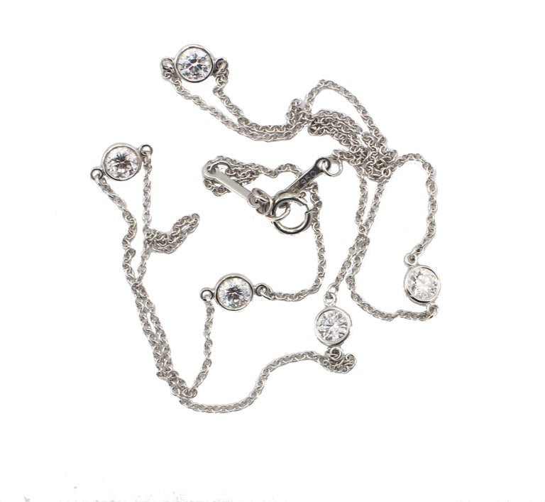 Round Cut Tiffany & Co. Elsa Peretti Platinum 5 Diamond by The Yard .90 Carat Necklace For Sale