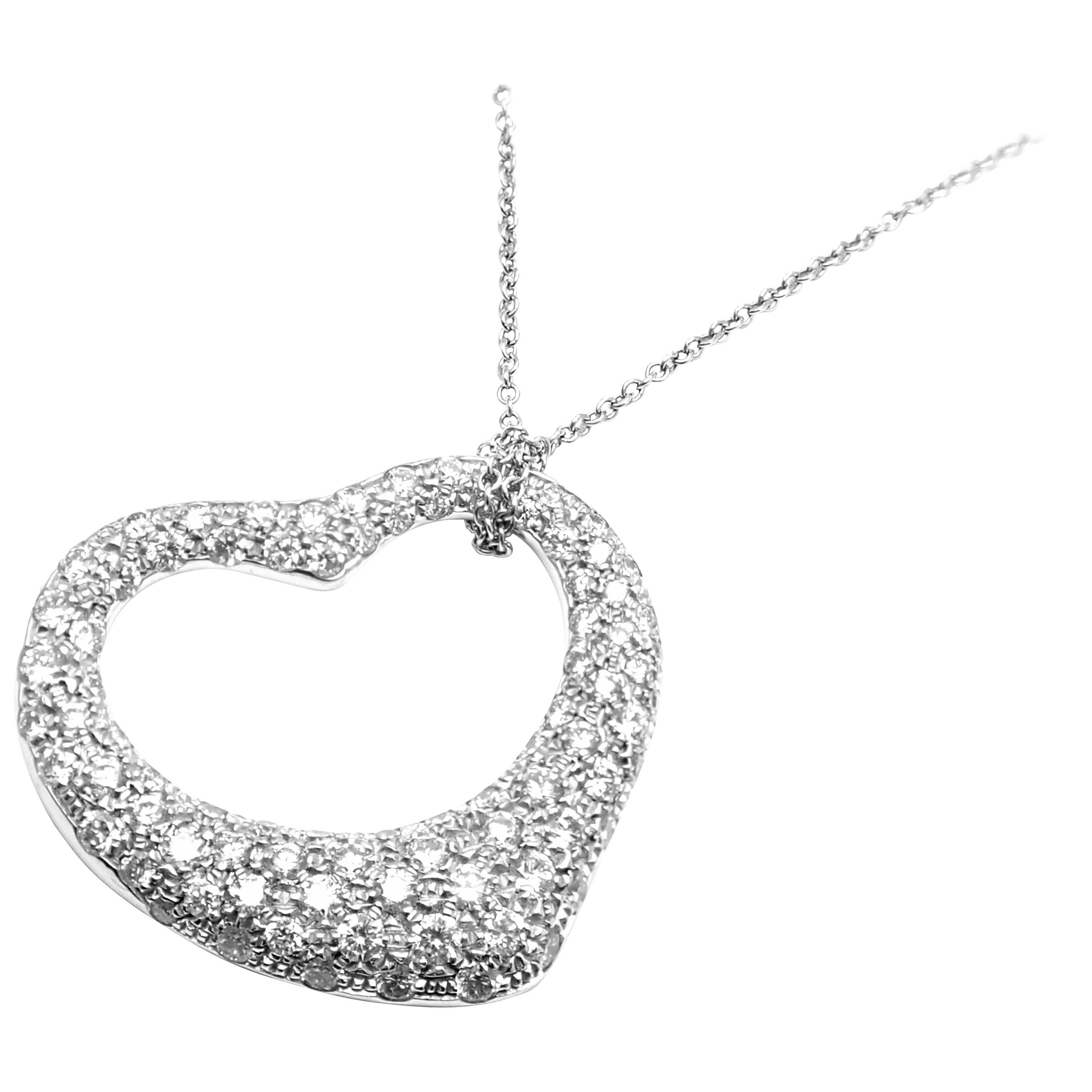 Tiffany & Co. Elsa Peretti Platinum Diamond Open Heart Large Pendant Necklace