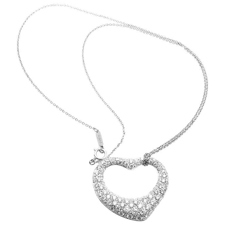 67b95dc95 Tiffany & Co. Elsa Peretti Platinum Diamond Open Heart Pendant Necklace For  Sale