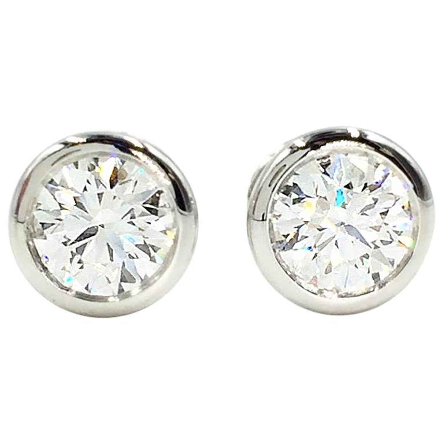 b6f7831dd Tiffany and Co. Elsa Peretti Platinum Diamond Stud Earrings Approximate  1.50 Carat at 1stdibs