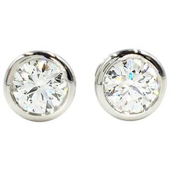 Tiffany & Co. Elsa Peretti Platinum Diamond Stud Earrings Approximate 1.50 Carat