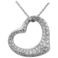 Tiffany & Co. Elsa Peretti Platinum Pave Diamonds 0.95 Carat Open Heart Pendant