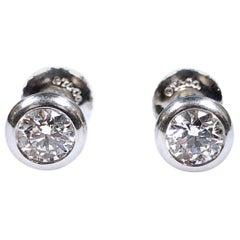 Tiffany & Co. Elsa Peretti Platinum Set Diamond Stud Earrings