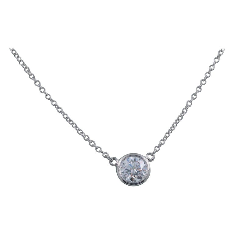 Tiffany And Co Elsa Peretti Round Diamonds By The Yard 0 40 Cts Solitaire Necklace For Sale At 1stdibs