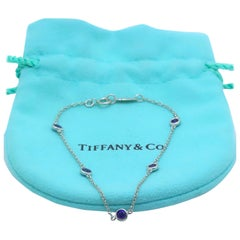 Tiffany & Co Elsa Peretti Sapphire Color by the Yard Bracelet Platinum 0.55 TCW
