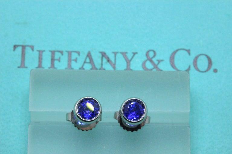 Tiffany & Co. Elsa Peretti Sapphire Color, the Yard Earrings 0.70 Carat Platinum For Sale 4