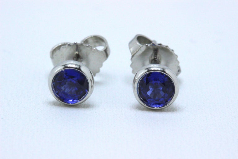 Tiffany & Co. Style:  Elsa Peretti Sapphire Color by the Yard Metal:  Platinum PT950 Width:  5 mm Total Carat Weight:  0.70 TCW Sapphire Shape:  Round Color:  Blue Hallmark:  ©ELSAPERETTIT&CO.PT950 on earrings & ©T&CO.PT950 on backs Includes:  T&C