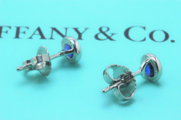 Round Cut Tiffany & Co. Elsa Peretti Sapphire Color, the Yard Earrings 0.70 Carat Platinum For Sale