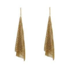 Tiffany & Co. Elsa Peretti Scarf Mesh 18k Yellow Gold Long Hook Earrings