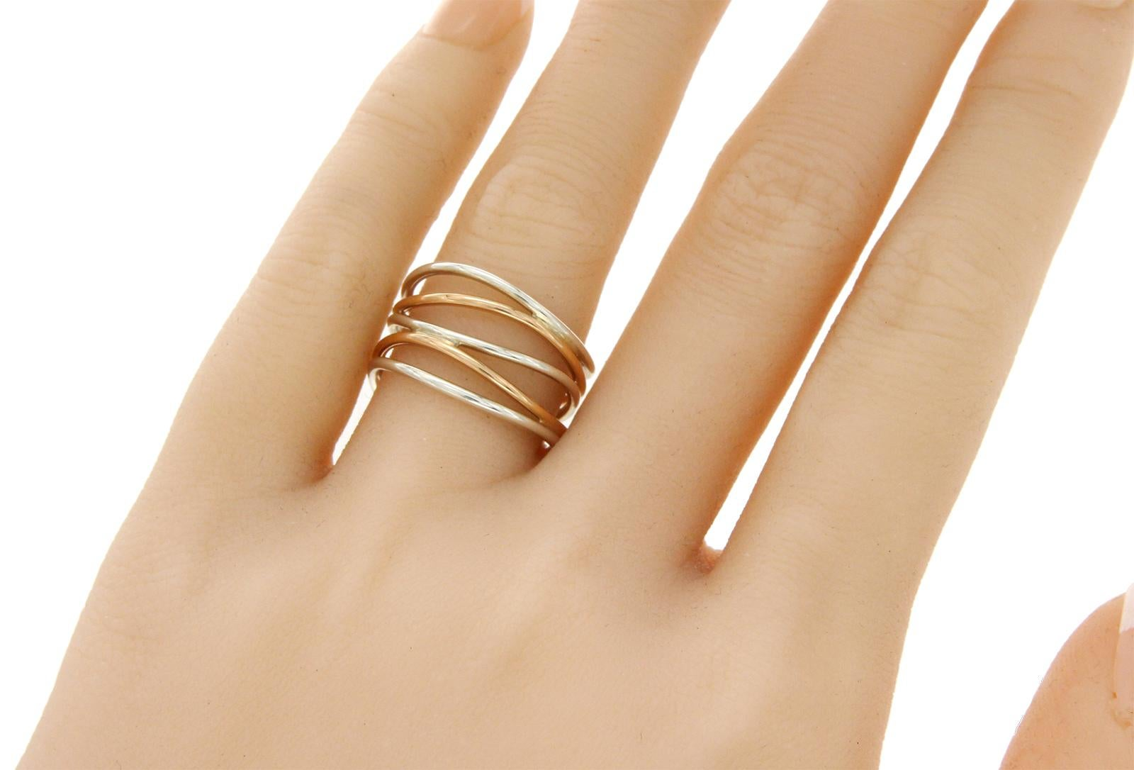 355478a3d Tiffany and Co. Elsa Peretti Silver and 18 Karat Rose Gold Wave Five Raw  Ring at 1stdibs