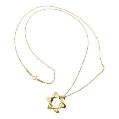 Tiffany & Co. Elsa Peretti Star of David Yellow Gold Pendant Necklace