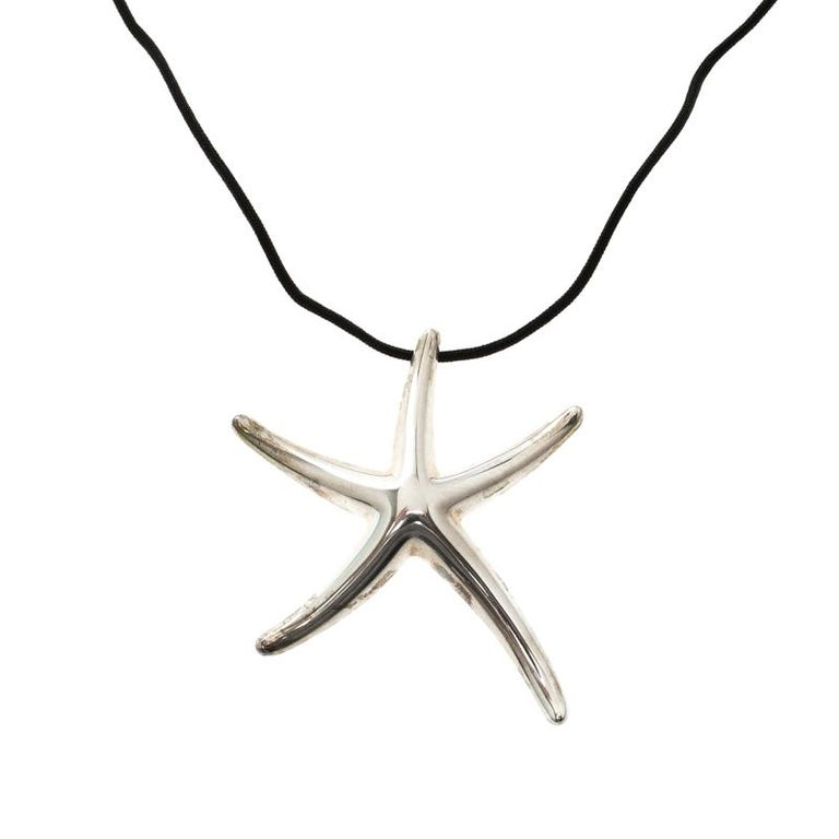 9b35d74373bb2 Tiffany & Co. Elsa Peretti Starfish Sliver Pendant Cord Necklace For Sale
