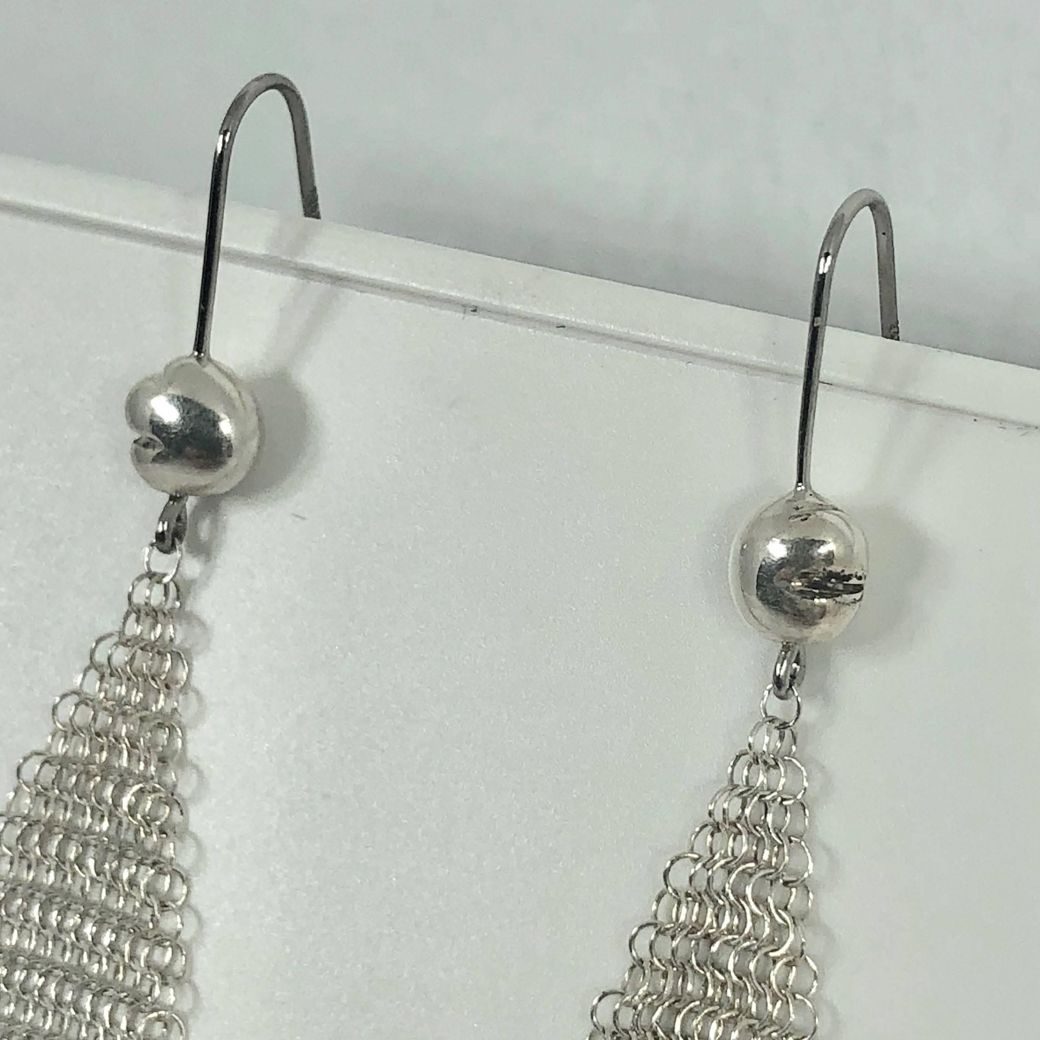 d0a5eb28e Tiffany and Co. Elsa Peretti Sterling Silver Mesh Handkerchief Earrings at  1stdibs