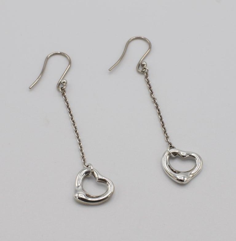 Women's Tiffany & Co. Elsa Peretti Sterling Silver Open Heart Dangle Drop Earrings For Sale