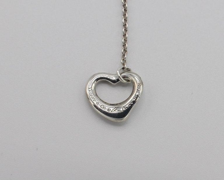 Tiffany & Co. Elsa Peretti Sterling Silver Open Heart Dangle Drop Earrings For Sale 1