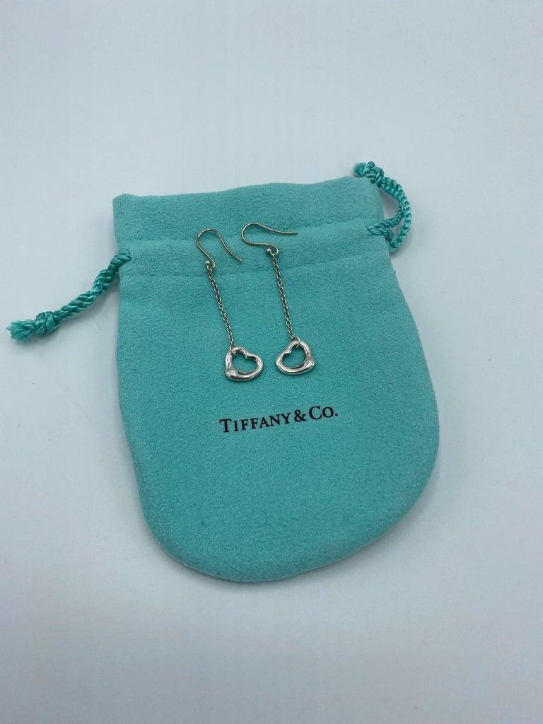 Tiffany & Co. Elsa Peretti Sterling Silver Open Heart Dangle Drop Earrings For Sale 2