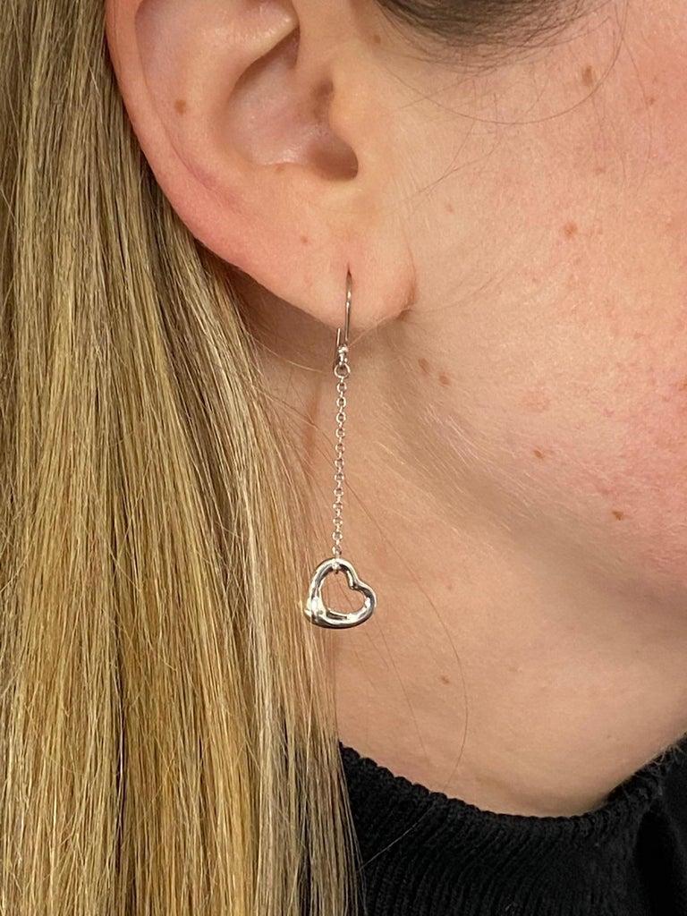 Tiffany & Co. Elsa Peretti Sterling Silver Open Heart Dangle Drop Earrings For Sale 3