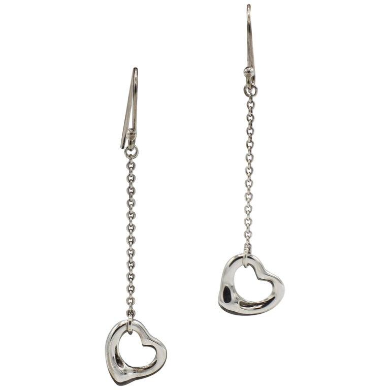Tiffany & Co. Elsa Peretti Sterling Silver Open Heart Dangle Drop Earrings For Sale