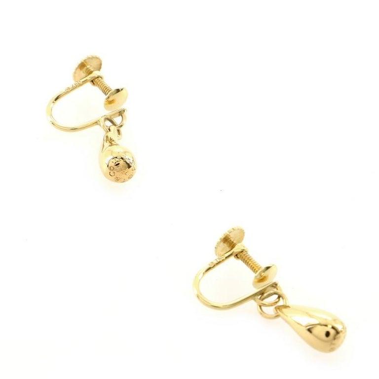 Women's or Men's Tiffany & Co. Elsa Peretti Teardrop Earrings 18K Yellow Gold For Sale
