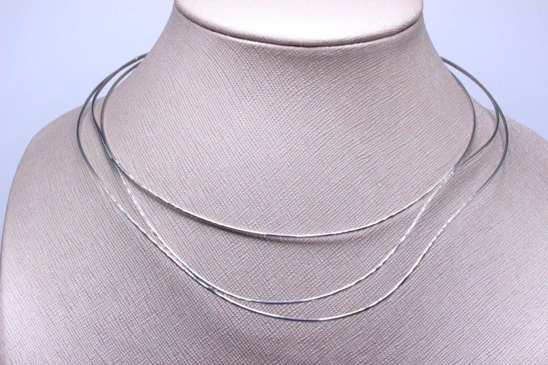 Tiffany And Co Elsa Peretti Three Row Wave Necklace In 18