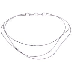 Tiffany & Co. Elsa Peretti Three-Row Wave Necklace in 18 Karat White Gold