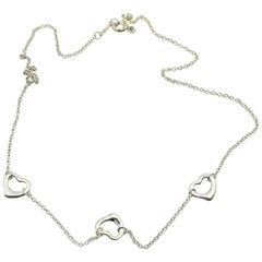 Tiffany & Co. Elsa Peretti Triple Open Heart Sterling Silver Necklace