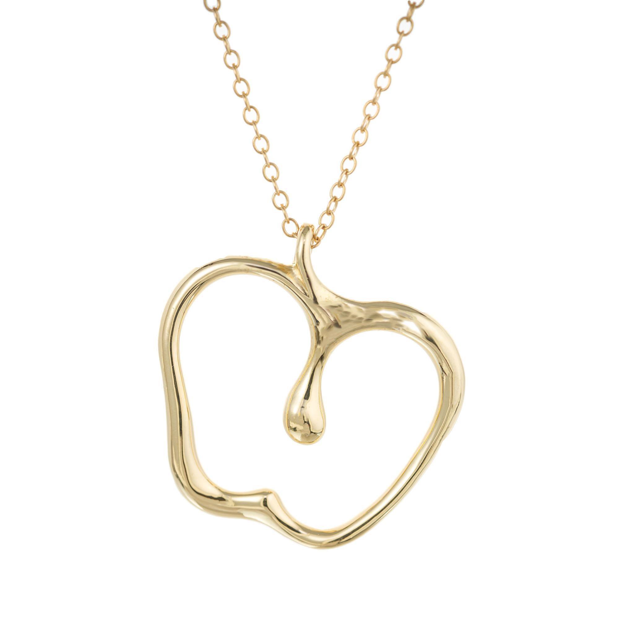 Tiffany & Co. Elsa Peretti Yellow Gold Apple Pendant Necklace